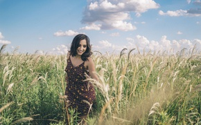 Picture girl, summer, happy, sky, dress, field, smile, clouds, countryside, happiness, joy, enjoying, sunny