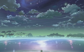 Picture sea, the sky, stars, horizon, 5 centimeters per second, the reflection in the water, 5 …