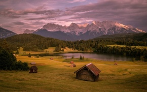 Picture Mountains, Trees, Germany, River, The Bavarian Alps