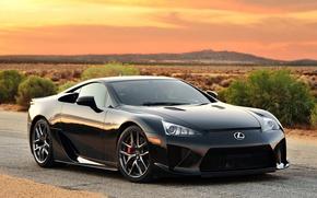 Picture Lexus, black, road, lfa