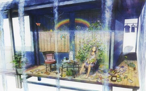 Picture summer, table, books, chairs, rainbow, plants, umbrella, sleeping, Girl, veranda, Kappa, dobi
