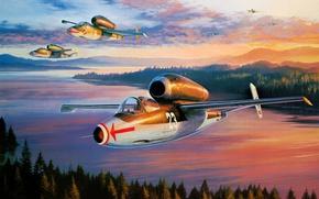 Picture war, art, painting, jet, ww2, Heinkel He 162
