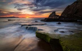 Picture beach, the sky, water, rocks, excerpt, Spain, Azkorri beach