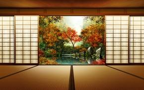 Picture autumn, Japan, door