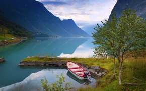 Picture trees, mountains, nature, lake, boat, Norway, Norway, birch