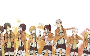 Picture girls, art, guys, characters, Shingeki no Kyojin