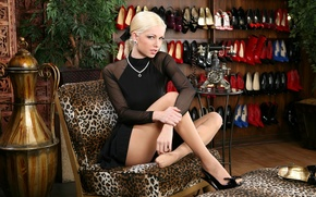 Picture look, girl, decoration, chair, dress, blonde, vase, legs, shoes.