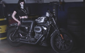 Picture girl, garage, motorcycle, Harley-Davidson