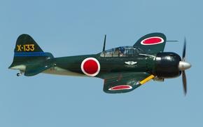 Picture easy, Mitsubishi, Japanese, A6M3 Zero, deck, fighter