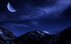 Picture snow, mountains, winter, trees, the moon, night, the sky, stars, forest