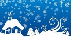 Picture snowflakes, blue, house, new year