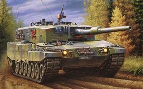 Picture war, art, tank. german tanks, paiting, leopard 2 a4