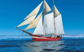 Picture ship, sailboat, North sea, Noorderliht