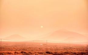 Picture desert, sunset, dust, hills, telephone line