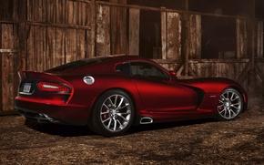 Picture red, Dodge, Dodge, supercar, the barn, twilight, drives, Viper, rear view, GTS, Viper, SRT