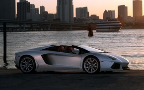 Picture the sky, the city, Roadster, roadster, LP700-4, Lamborghini, Lamborghini Aventador