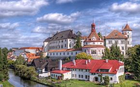 Picture the sky, trees, river, castle, home, Czech Republic, architecture, The Czech Republic, cloud., cities, republic