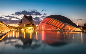 Picture the sky, clouds, sunset, bridge, lights, reflection, river, the evening, lighting, lights, Spain, Valencia, the …