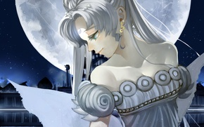 Picture girl, the moon, art, Sailor Moon