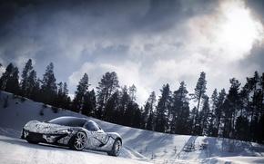 Picture the sky, snow, hypercar, Mclaren P1