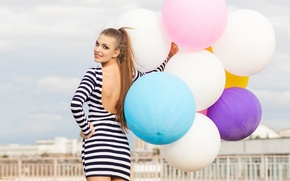 Picture look, girl, balls, smile, mood, tail