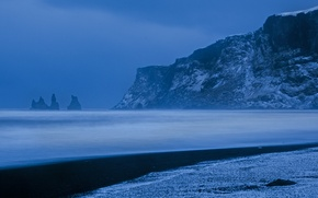 Picture mountains, the ocean, rocks, coast, Iceland, Iceland, The Atlantic ocean, Atlantic Ocean, Vik, Vic