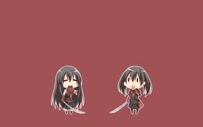 Picture minimalism, chibi, katana, jaegers, Akame, Akame ga kill, Kurome, akame GA kill, night raid