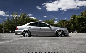 Picture machine, auto, trees, Mercedes Benz, auto, Black, Matte, Wheels, Concave, CW-S5, E-500