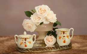 Picture tenderness, roses, dishes, bouquet, tray