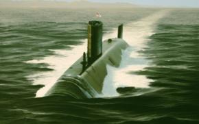 Picture war, art, painting, drawing, submarine, HMS Trafalgar