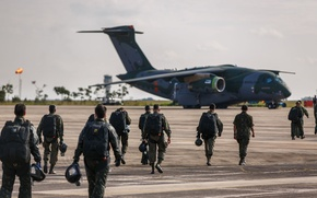 Wallpaper FAB, Embraer, KC-390, paratroopers, military aircraft, Force Air Brazilian, Brazilian Air Force