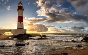 Wallpaper stones, Brazil, Bahia, surf, dawn, coast, sea, Salvador, lighthouse, the sun, the sky, horizon, clouds