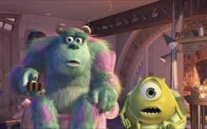 Picture cartoon, pixar, Mike, monsters Inc., VAZ, disney, disney, monsters.inc, Sally, Pixar, Sullivan