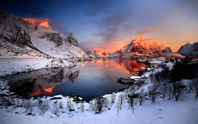 Picture snow, sunset, mountains, home, Norway