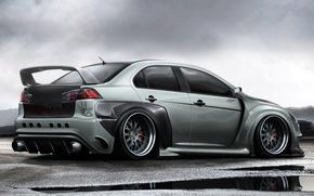 Picture car, machine, graphics, speed, Mitsubishi, Lancer