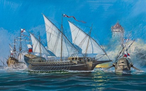 Picture oil, explosions, ships, bursts, battle, water, art, watercolor, Navy, sea, painting, shots, sea, siege, position, …