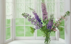 Wallpaper Window, Vase, Bouquet
