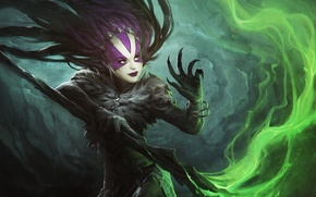 Picture look, magic, art, claws, staff, demoness