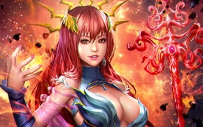 Wallpaper Lana Solaris, beauty, staff, look, magic, red, art, anime, girl, chest, costume