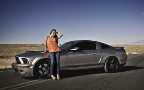 Picture road, girl, desert, Shelby, GT500, Ford Mustang