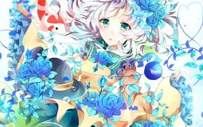 Picture girl, flowers, roses, fish, hat, art, touhou, komeiji koishi, azumamutuki