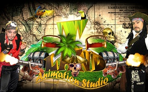 Picture Palma, bird, island, skull, map, positive, shot, Pirates, parrot, show, gun, chest, actors, Toucan, good …