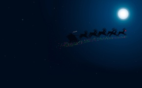 Picture night, the moon, new year, sleigh, deer, Santa, merry christmas