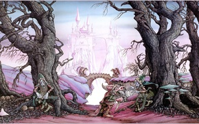 Picture trees, castle, fiction, Rodney Matthews, goblins