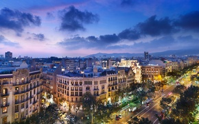 Picture road, mountains, street, home, the evening, City, architecture, Spain, Barcelona, Barcelona, Spain, cloud.