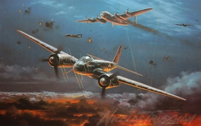 Picture the plane, painting, Junkers, WW2, Night fighter, aircraft art, Ju 88G, Night Fighter