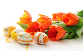 Wallpaper flowers, holiday, eggs, spring, Easter, tulips, red, Easter