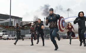 Picture Marvel, Falcon, Captain America, Hawkeye, Jeremy Renner, Chris Evans, Scarlet Witch, Anthony Mackie, Elizabeth Olsen, …