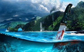 Picture sea, mountains, blood, knife, shooter, Far cry 3
