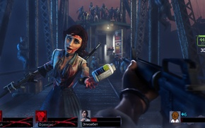 Picture girl, machine, zombies, medicine, crossover, left 4 dead, Elizabeth, BioShock Infinite, louis